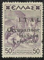 OCCUPAZIONE ITALIANA CEFALONIA E ITACA 1941 POSTA AEREA AIR MAIL D 50 DRX PARTE SINISTRA MNH FIRMATO SIGNED - Cefalonia & Itaca