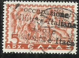 ITACA 1941 MITOLOGICA SOPRASTAMPATO DI GRECIA MYTHOLOGICAL GREECE OVERPRINTED D 5 DRX USATO USED OBLITERE' - Cefalonia & Itaca