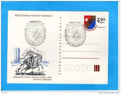 Carte Postale Entier Postal  Illustrée Cavalier -blason 4,40 Kcs Oblitération 5 Sept 1982 - Entiers Postaux