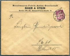 1921 Germany Berlin Baer & Stein Metallwaaren-Fabrik Brief - Brieven En Documenten