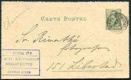 1895 Argentina Carta Postal Lettercard Stationery Arquitectos Architect Buzonistas - Lettres & Documents