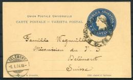 1903/4 Argentina Carte Postale Stationery Santa Fe - Delemont Switzerland Suisse - Argentine