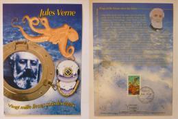 JULES VERNE - Vingt mille lieux sous les mers - Casque plong�e - Document philat�lique avec timbre et cachet 1er jour