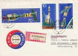 DDR 1975 - 3 Raumfahrt (Apollo) Sondermarken (Ank2083-2085) Auf R-Brief Gel.v.Nordhausen N.Steinhude - [6] Democratic Republic