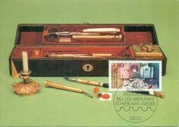 CM-Carte maximum card # 1982-Allemagne-Deutschland-Germany # Stamps�day # traveller�s  witring set , letters # Bonn
