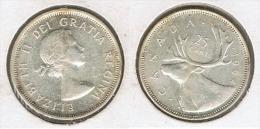 CANADA 25 CENTS  DOLLAR 1964 PLATA SILVER G1 - Canada