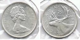 CANADA 25 CENTS  DOLLAR 1968 PLATA SILVER G1 - Canada