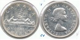 CANADA DOLLAR 1961 PLATA SILVER G1 - Canada