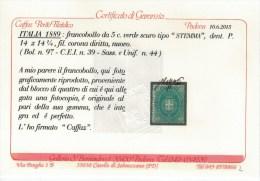 Italia 1889 5 C. STEMMA Sass. 44 ** MNH Cert Caffaz Alta Qualità - Mint/hinged