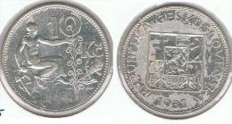CHECOSLOVAQUIA 10 CORONA 1931 PLATA SILVER G1 - Checoslovaquia