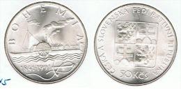 CHECOSLOVAQUIA 50 CORONA 1991 BOHEMIA PLATA SILVER G1 - Checoslovaquia