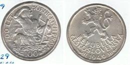 CHECOSLOVAQUIA 100 CORONA 1949 PLATA SILVER G1 - Checoslovaquia