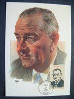 USA 1986 FDC Maxicard U.S. Presidents - Lyndon B. Johnson - Stati Uniti