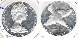 COOK ISLANDS 5 DOLLAR PAJARO PESCADOR 1976 PLATA SILVER G1 - Islas Cook