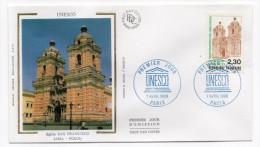 """1990--enveloppe FDC """"Soie"""" --UNESCO--Pérou-LIMA--église San Francisco  Cachet  UNESCO--PARIS--75 - FDC"""