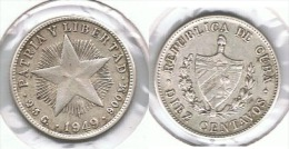 CUBA 10 CENTAVOS PESO 1949 PLATA SILVER G1 - Cuba