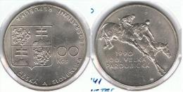 ESLOVAQUIA  100 CORONAS 1990 PLATA SILVER G1 - Eslovaquia