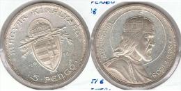 HUNGRIA 5 PENGO SAN ESTEBAN 1938 PLATA SILVER G1 - Hungría