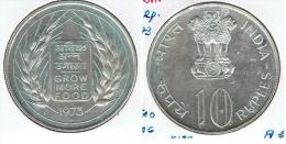 INDIA 10 RUPIA RUPEE 1973 COMIDA PARA TODOS PLATA SILVER G1 - India