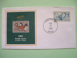 USA 1984 America Duck Stamps - Hunting Tax - 1981 Ruddy Ducks - Wetlands - Lettres & Documents