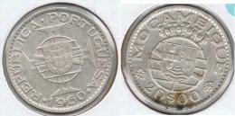 MOZAMBIQUE 20 ESCUDO 1960 PLATA SILVER G2 - Mosambik