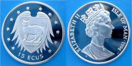ISOLA DI MAN 15 E 1994 ARGENTO PROOF SILVER MAN CAT GATTO DELL ISOLA PESO 10g TITOLO 0,925 CONSERVAZIONE FONDO SPECCHIO - Monete Regionali