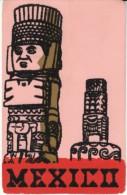 Mexico, Atlantes de Tula Statue, Felt Surface, c1960s Vintage Postcard