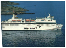 (999) M/S Silvia Regina Ferry + Finland Tennis Stamp At Back Of Card - Traghetti