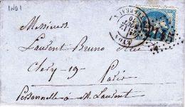 RHONE - Oblit GC  Sur Timbres - 2145ALYON LES TERREAUX29 T17Date :1870Ind : 1 (Lot68_16) - Marcophilie (Lettres)