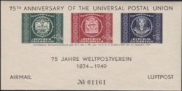 AUSTRIA 1949 UNIVERSAL POSTAL UNION COMBI Numbered Sheetlet   [non Dentelé,Geschnitten,no Dentado,non Dentellato] - Variétés & Curiosités