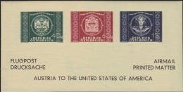 AUSTRIA 1949 UNIVERSAL POSTAL UNION COMBI USA-related Sheetlet   [non Dentelé,Geschnitten,no Dentado,non Dentellato] - Variétés & Curiosités