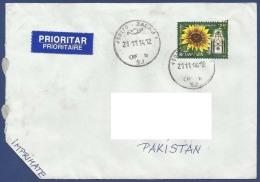 ROMANIA POSTAL USED AIRMAIL COVER TO PAKISTAN FLOWER FLOWERS - Viñetas De Franqueo (ATM/Frama)