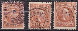 Ned. Indië: 1870 Koning Willem III 10 Cent Oranjebruin Kamtanding 12½  NVPH 9 K 3 X - Indes Néerlandaises