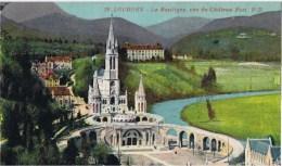 Cpa LOURDES La Basilique Vue Du Chateau Fort - Lourdes
