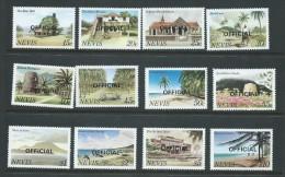 Nevis 1981 Scene Definitive Set 12 Official Overprints MNH - St.Kitts And Nevis ( 1983-...)