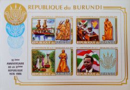 10 EME NNIVERSAIRE DE LA 2 EME REPUBLIQUE 1986 - NEUF ** - MI BL IB- NON-EMIS - NON-DENTELE - RAREMENT PROPOSE!! - Burundi