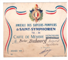 Carte De Membre De L'amicale Des Sapeurs Pompiers De SAIN SYMPHORIEN (indre Et Loire) (PPP1057) - Cartes De Visite