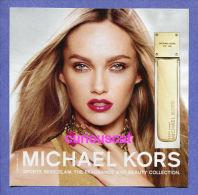 SEXY AMBER  PERFUME Et EAU De PARFUM SPRAY And EAU DE TOILETTE SPRAY By MICHAEL KORS PERFUME PARFUM CARD ADVERTISING - Parfumkaarten