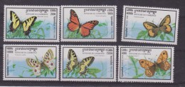 ** CAMBOGIA FARFALLE BUTTERFLI PAPILLON 6 V MNH 1998 - Farfalle
