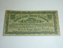 UNITED CIGAR STORES COMPAGNY - 10Cent Coupon - CERTIFICATE - CIGARETTE - Cigarette Cards