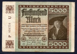 GERMANIA - 5000 MARCHI 2/12/1922 - [ 3] 1918-1933 : Repubblica  Di Weimar