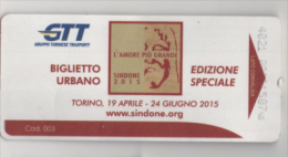 alt757 Biglietto autobus metro Ticket bus, billet Torino GTT Ostensione Sindone Religione Religion Special edition