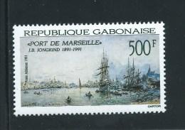 Gabun  ** , 1077 , Schiffe , Jongkind , Maler - Gabon (1960-...)