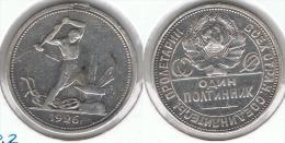 RUSIA URRS 50 COPEK KOPEC 1926 PLATA SILVER G1 - Rusia