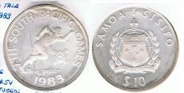 SAMOA I SISIFO 10 DOLLAR 1983 CORREDOR PLATA SILVER G1