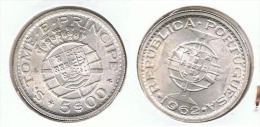SANTO TOME I PRINCIPE 5 ESCUDO1962 PLATA SILVER G1 - Santo Tomé Y Príncipe