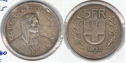 SUIZA HELVETIA  5 FRANCS  1934 PLATA SILVER  G1 - Suiza