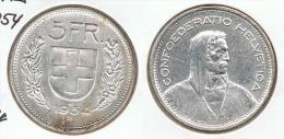 SUIZA HELVETIA  5 FRANCS  1954 PLATA SILVER BONITA G1 - Suiza