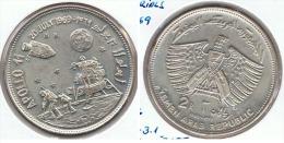 YEMEN 2 RIALS 1969 APOLO 11 PLATA SILVER G1 - Yemen
