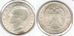 YUGOSLAVIA 20 DINAR 1938 PLATA SILVER G1 - Yugoslavia